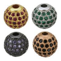Befestigte Zirkonia Perlen, Messing, rund, plattiert, Micro pave Zirkonia, keine, frei von Nickel, Blei & Kadmium, 10x10x10mm, Bohrung:ca. 2.5mm, 10PCs/Menge, verkauft von Menge