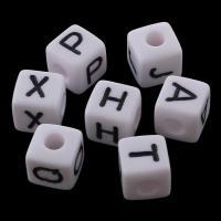 Volltonfarbe Acryl Perlen, Würfel, verschiedene Muster für Wahl, weiß, 7x7mm, Bohrung:ca. 3mm, ca. 1800PCs/Tasche, verkauft von Tasche