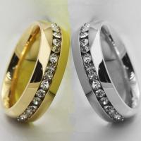Rhinestone-Edelstahl -Finger-Ring, 316 L Edelstahl, plattiert, unisex & verschiedene Größen vorhanden & mit Strass, keine, verkauft von PC