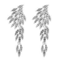 Zinklegierung Tropfen Ohrring, mit Gummi Earnut, Blatt, silberfarben plattiert, für Braut & mit Strass, frei von Nickel, Blei & Kadmium, 22x68mm, verkauft von Paar