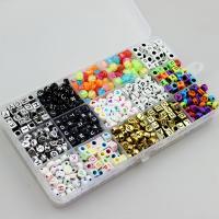 Gemischte Acrylperlen, Acryl, für Kinder & Emaille, 6x6mm, Bohrung:ca. 1-3.5mm, 1100PCs/Box, verkauft von Box