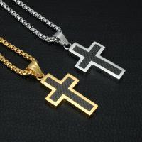 Titanstahl Halskette, Kreuz, plattiert, Kastenkette & für den Menschen & Epoxy Aufkleber, 21x39mm, verkauft per ca. 22 ZollInch Strang
