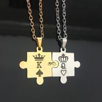 Edelstahl Ehepaar Halskette, Krone, plattiert, Oval-Kette & für paar, keine, verkauft per ca. 22 ZollInch Strang