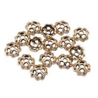 Zinklegierung Perlenkappe, Blume, vergoldet, hohl, frei von Blei & Kadmium, 10x4mm, Bohrung:ca. 1mm, 20PCs/Tasche, verkauft von Tasche