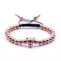 Messing Woven Ball Armband, mit Nylonschnur, Leopard, plattiert, unisex & einstellbar & Micro pave Zirkonia, keine, 6mm, verkauft per 7-9 ZollInch Strang