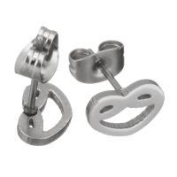 Edelstahl Ohrringe, Herz, für Frau, originale Farbe, 9x6mm, 12PaarePärchen/Menge, verkauft von Menge
