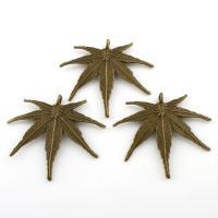 Zinklegierung Blatt Anhänger, Ahornblatt, antike Bronzefarbe plattiert, frei von Blei & Kadmium, 60x54x3mm, Bohrung:ca. 4mm, verkauft von PC