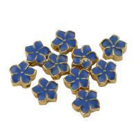 Zinklegierung Blumenperlen, goldfarben plattiert, Emaille, frei von Blei & Kadmium, 7x7x3mm, Bohrung:ca. 0.5mm, 10PCs/Tasche, verkauft von Tasche