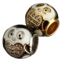 Messing Großes Loch Perlen, Trommel, plattiert, Micro pave Zirkonia & Emaille, keine, 9x10x10mm, Bohrung:ca. 4mm, 10PCs/Menge, verkauft von Menge