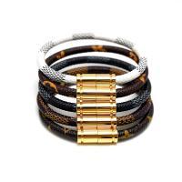 Edelstahl Armband, mit Leder, goldfarben plattiert, unisex & verschiedene Muster für Wahl, 6mm, verkauft per ca. 8 ZollInch Strang