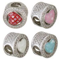 Messing European Perlen, mit Muschel, flache Runde, platiniert, Micro pave Zirkonia & Epoxy Aufkleber & ohne troll, keine, 10x9mm, Bohrung:ca. 4.5mm, 10PCs/Menge, verkauft von Menge