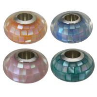 Messing European Perlen, mit Muschel, Trommel, platiniert, Epoxy Aufkleber & ohne troll, keine, 13x7.50x13mm, Bohrung:ca. 4.5mm, 10PCs/Menge, verkauft von Menge