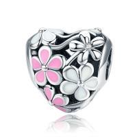 Thailand European Perlen, Herz, mit Blumenmuster & ohne troll & Emaille, 11x11mm, verkauft von PC
