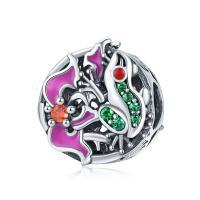 Thailand European Perlen, Micro pave Zirkonia & ohne troll & Emaille & hohl, 11x12mm, verkauft von PC