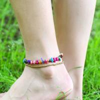 Messing Fußkettchen, mit Edelstein, goldfarben plattiert, verschiedenen Materialien für die Wahl & mit Glocke & für Frau, verkauft per ca. 8.8 ZollInch Strang