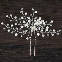 Braut Haarnadel, Zinklegierung, mit ABS-Kunststoff-Perlen & Kristall, silberfarben plattiert, für Braut & facettierte, frei von Blei & Kadmium, 110x135mm, verkauft von PC
