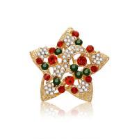 Zinklegierung Brosche, Stern, goldfarben plattiert, Weihnachtsschmuck & für Frau & mit Strass, frei von Blei & Kadmium, 35x35mm, verkauft von PC
