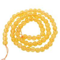 Natürlicher Citrin Perlen, Gelbquarz Perlen, rund, November Birthstone & verschiedene Größen vorhanden, Bohrung:ca. 1mm, verkauft per ca. 15.5 ZollInch Strang