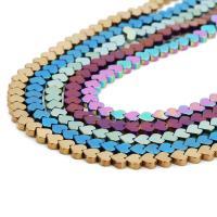 Nicht-magnetische Hämatit Perlen, Non- magnetische Hämatit, Herz, plattiert, keine, 6mm, Bohrung:ca. 1mm, ca. 80PCs/Strang, verkauft per ca. 16 ZollInch Strang