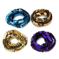 Nicht-magnetische Hämatit Perlen, Non- magnetische Hämatit, plattiert, verschiedene Größen vorhanden, keine, Bohrung:ca. 1mm, ca. 90PCs/Strang, verkauft per ca. 15 ZollInch Strang