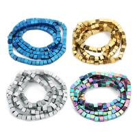 Nicht-magnetische Hämatit Perlen, Non- magnetische Hämatit, Quadrat, plattiert, keine, 3mm, Bohrung:ca. 1mm, ca. 92PCs/Strang, verkauft per ca. 10 ZollInch Strang