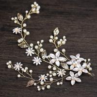 Braut Haar Blumen, Zinklegierung, mit ABS-Kunststoff-Perlen, goldfarben plattiert, für Braut & mit Strass, frei von Blei & Kadmium, 120x240mm, verkauft von PC