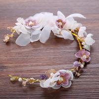 Kunststoff Schweißband, mit ABS-Kunststoff-Perlen & Seidenspinnerei & Kristall, für Braut & facettierte & mit Strass, 400x70mm, verkauft von PC