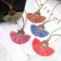 Zinklegierung Franse Halskette, mit Baumwollfaden, QuasteTroddel, antike Kupferfarbe plattiert, für Frau, keine, frei von Nickel, Blei & Kadmium, verkauft per ca. 31 ZollInch Strang