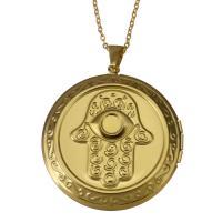 Mode Medaillon Halskette, Edelstahl, mit Verlängerungskettchen von 2Inch, flache Runde, goldfarben plattiert, Oval-Kette & für Frau, 45x47mm, 2mm, Innendurchmesser:ca. 6, 30mm, verkauft per ca. 17 ZollInch Strang