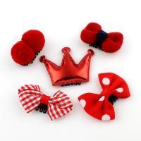 Ripsband Haar-Schmuck-Set, Haarspange, mit Caddice & Stoff & PU Leder & Baumwollsamt & Eisen, für Kinder, rot, 35x24x16mm-50x36x16mm, 5PCs/Tasche, verkauft von Tasche