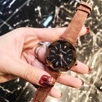 DIMINI® Uhrenkollektion, Leder, mit Glas & Zinklegierung, flache Runde, plattiert, Sternendesign & für Frau & wasserdicht, keine, 34x10mm, Länge:ca. 8.6 ZollInch, verkauft von PC