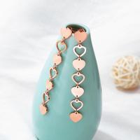 Titan Stahl Ohrring, Titanstahl, Herz, Rósegold-Farbe plattiert, Koreanischen Stil & für Frau, 70mm, verkauft von Paar