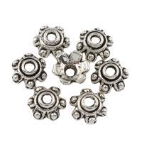Zinklegierung Perlenkappe, Blume, antik silberfarben plattiert, frei von Blei & Kadmium, 7x3mm, Bohrung:ca. 1mm, 500G/Tasche, verkauft von Tasche