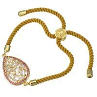 Nylonschnur Armband, mit Messing, Tropfen, Rósegold-Farbe plattiert, unisex & einstellbar & mit kubischem Zirkonia, 28x17mm, 3mm, verkauft per ca. 6-8 ZollInch Strang