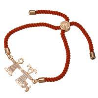 Nylonschnur Armband, mit Messing, Paar, Rósegold-Farbe plattiert, unisex & einstellbar & Micro pave Zirkonia, 31x17mm, 3mm, verkauft per ca. 6-8 ZollInch Strang