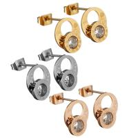 Edelstahl Ohrringe, Zahl, plattiert, für Frau & mit Strass, keine, 10x11x13mm, verkauft von Paar