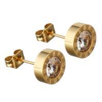 Edelstahl Ohrringe, flache Runde, goldfarben plattiert, für Frau & mit Strass, 8x8x15mm, verkauft von Paar