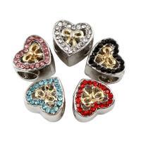 Zink Legierung Europa Perlen, Zinklegierung, Herz, plattiert, ohne troll & mit Strass, keine, frei von Blei & Kadmium, 11x10x9mm, Bohrung:ca. 5mm, 5PCs/Tasche, verkauft von Tasche