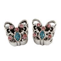 Zink Legierung Europa Perlen, Zinklegierung, Schmetterling, antik silberfarben plattiert, ohne troll & mit Strass, frei von Blei & Kadmium, 13x11x10mm, Bohrung:ca. 5mm, 5PCs/Tasche, verkauft von Tasche