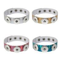 Unisex-Armband & Bangle, PU Leder, mit Messing, Platinfarbe platiniert, einstellbar, keine, verkauft per ca. 9 ZollInch Strang