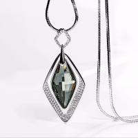 Zinklegierung Pullover Halskette, mit Kristall, silberfarben plattiert, Schlangekette & für Frau & mit Strass, frei von Nickel, Blei & Kadmium, 36x80mm, verkauft per ca. 30 ZollInch Strang