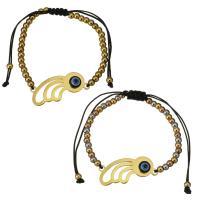 Edelstahl Woven Ball Armband, mit Nylonschnur & Harz, plattiert, böser Blick- Muster & einstellbar & für Frau, keine, 30x17mm, 3x4mm, verkauft per ca. 6-11 ZollInch Strang