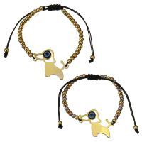 Edelstahl Woven Ball Armband, mit Nylonschnur & Harz, Hund, plattiert, böser Blick- Muster & einstellbar & für Frau, keine, 30x23mm, 3x4mm, verkauft per ca. 6-11 ZollInch Strang
