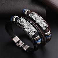 Titanstahl Armband, mit Leder, Anker, plattiert, Koreanischen Stil & unisex, keine, verkauft per ca. 8.5 ZollInch Strang