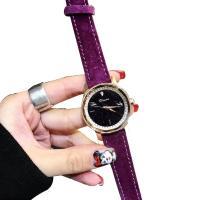DIMINI® Uhrenkollektion, Leder, mit Glas & Zinklegierung, flache Runde, plattiert, Sternendesign & für Frau & wasserdicht & mit Strass, keine, 34x10mm, Länge:ca. 8.6 ZollInch, verkauft von PC