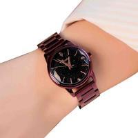 DIMINI® Uhrenkollektion, Edelstahl, mit Glas, flache Runde, plattiert, Sternendesign & für Frau & wasserdicht & mit Strass, keine, 30x10mm, Länge:ca. 8.6 ZollInch, verkauft von PC