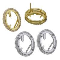 Messing Ohrstecker, Kreisring, plattiert, ohne stopper & Micro pave Zirkonia, keine, 14.5x18.5x20mm, 12x15.5mm, 0.8mm, verkauft von Paar