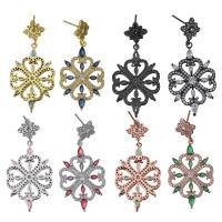 Messing Tropfen Ohrringe, Blume, plattiert, ohne stopper & für Frau & mit kubischem Zirkonia, keine, 21.5x33.5x3.5mm, 45.5mm, 0.8mm, verkauft von Paar
