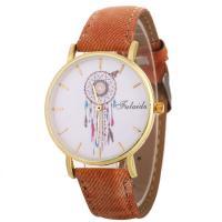 Damen Armbanduhr, PU Leder, mit Glas & Zinklegierung, goldfarben plattiert, einstellbar & für Frau, keine, 40x10mm, Länge:ca. 9.4 ZollInch, verkauft von PC