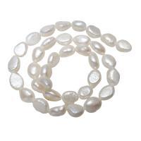 Lagerluft Süßwasser Perlen, Natürliche kultivierte Süßwasserperlen, Barock, natürlich, weiß, 8x10x6mm-10x12x5mm, Bohrung:ca. 0.8mm, verkauft per ca. 15.5 ZollInch Strang